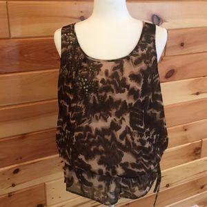 Animal print lined tank blouse w/ drawstring waist